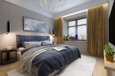 现代灰色调卧室效果图