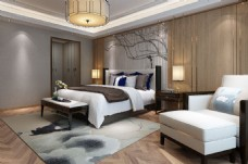 中式意境卧室效果图