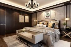 新中式花鸟画卧室效果图