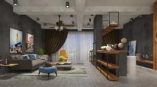 工业风格客厅空间装修设计效果图