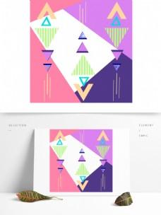 暖色孟菲斯三角几何背景纹理清新卡通