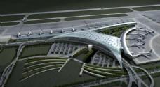 机场停机坪鸟瞰效果图