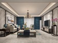 新中式风格客厅空间装修设计效果图