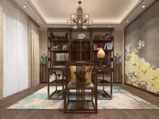 新中式书房空间装修设计效果图