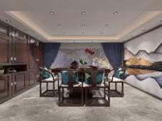 新中式餐厅空间装修设计效果图
