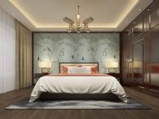 新中式卧室空间装修设计效果图
