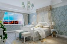 欧式风格清新卧室效果图