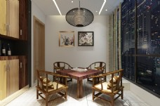 新中式风格茶室装饰装修效果图