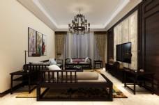 新中式风格客厅装饰装修效果图
