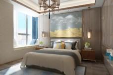新中式温馨卧室效果图