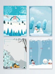 卡通简约节气冬季促销广告背景图