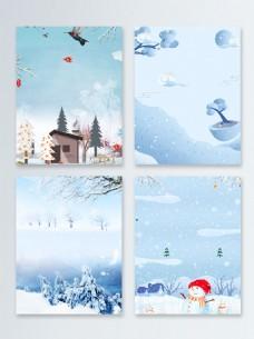 二十四节气冬季促销广告背景图