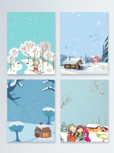 卡通雪地简约节气冬季促销广告背景图