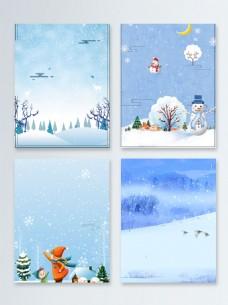 雪人雪花节气冬季促销广告背景图