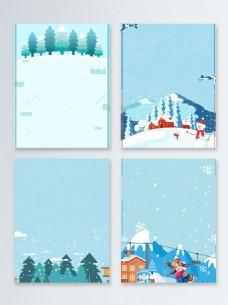 卡通松树简约节气冬季促销广告背景图