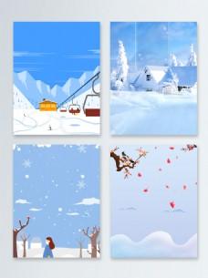 唯美简约节气冬季促销广告背景图