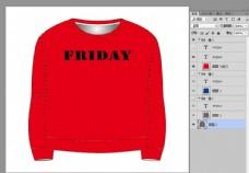 时尚英文印花红色女装T恤设计
