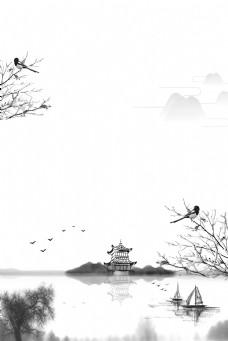 水墨中国风山水风景背景