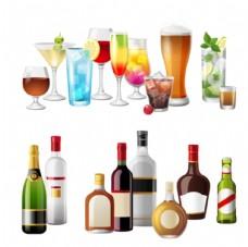 果汁杯和酒瓶