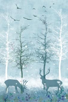 雪花森林麋鹿背景素材