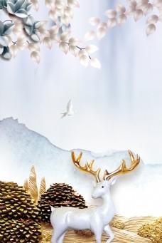 简约麋鹿北欧抽象背景素材