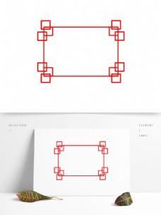 可商用中国风简单大气红色方形边框元素