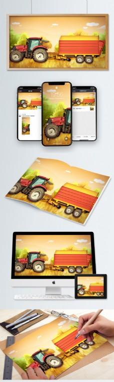 十一月你好秋季丰收季节拖拉机运输农作物