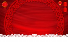 大红花环灯笼春节舞台背景素材