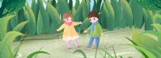 野外雨中玩耍儿童插画风清新海报