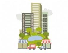 卡通城市绿化元素