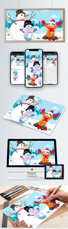 素色像素风堆雪人插画AI