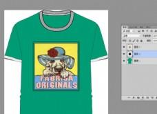 时尚英文时髦圆帽狗狗T恤设计