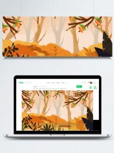 金秋树林童话风插画背景设计