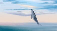 唯美清新海蓝时见鲸插画