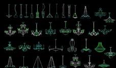 各式吊灯造型图家装CAD图纸