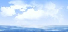 蓝天白云简约背景