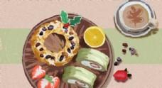 美食甜甜圈糕点咖啡草莓小清新