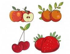 手绘矢量红色水果元素