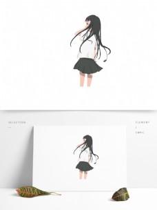 穿裙装校服的长发女生卡通元素