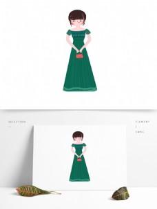 穿绿色裙子拿包的女人卡通元素