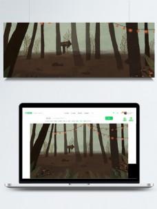 卡通树林插画背景设计