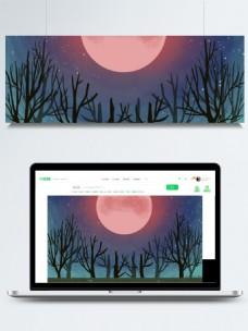 唯美夜色树林背景设计