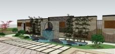 别墅庭院欧式花园SU模型
