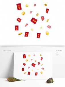矢量红包金币漂浮理财装饰元素