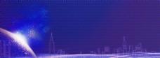 蓝色商务科技城市年底背景