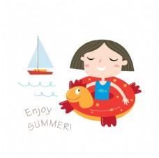 夏季沙灘游泳