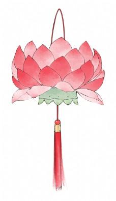 新年元宵节吉祥莲花灯荷花灯粉色绿色平面设计清新挂饰