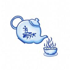 青花瓷器茶壶倒热饮茶水