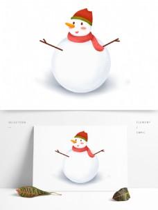手绘卡通白色雪人原创元素