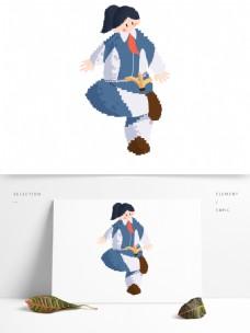 手绘卡通简约女孩踢毽子原创元素